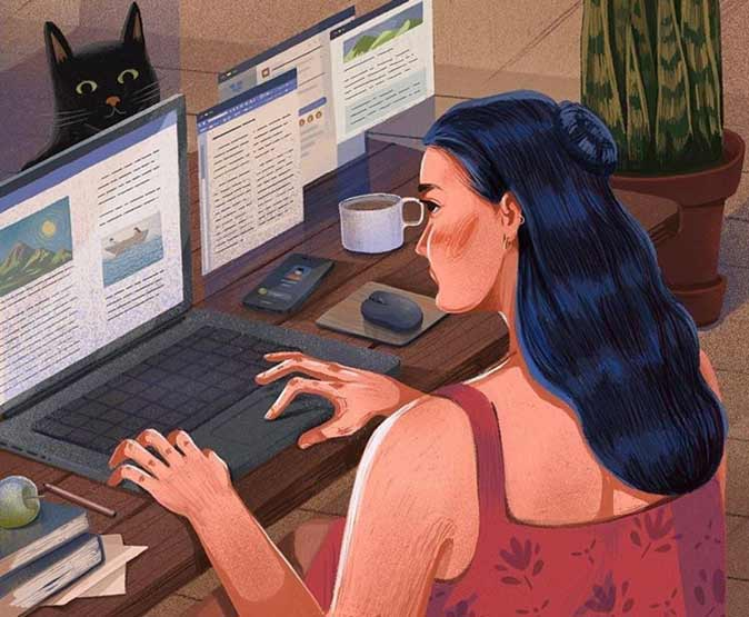 Illustration of an artist working from home